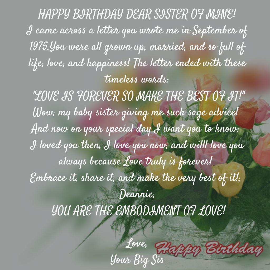 Straight Talk Happy Birthday Dear Sister Of Mine Leggsplace